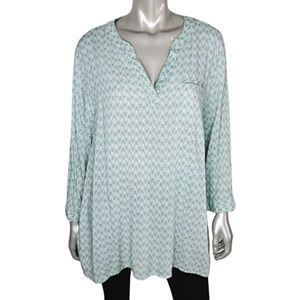 Carole Little Green Pullover Top Plus Size 2X